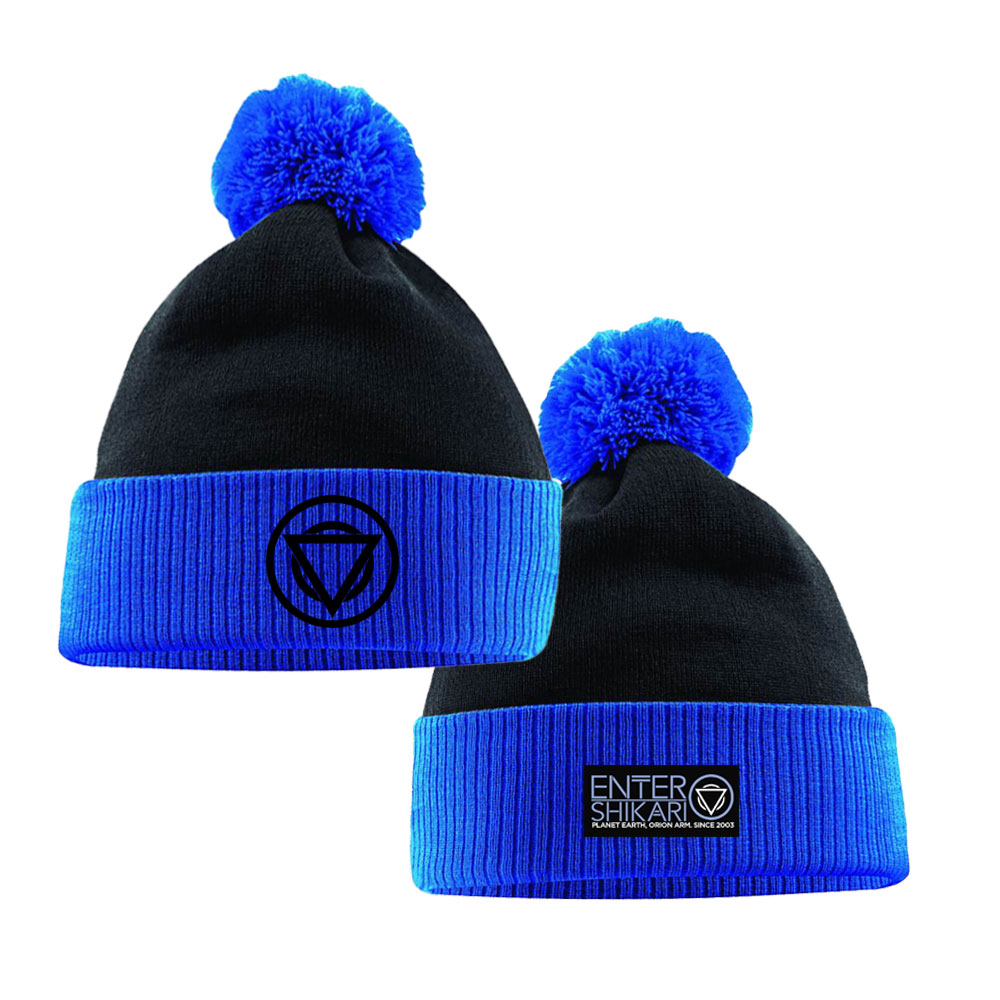 BLUE / BLACK BOBBLE HAT