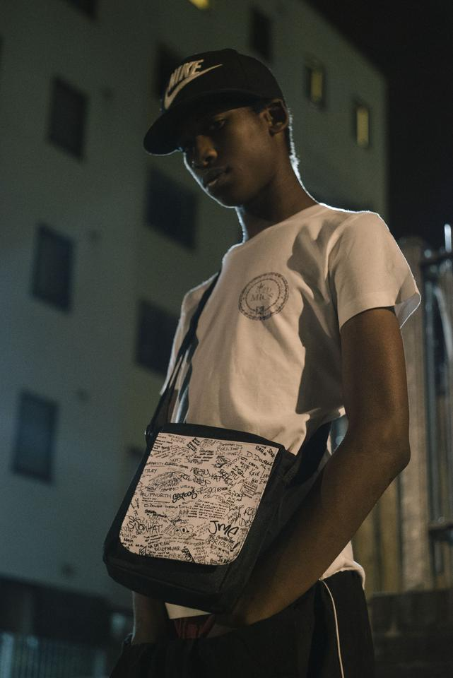 Side Bag: White (with black print)